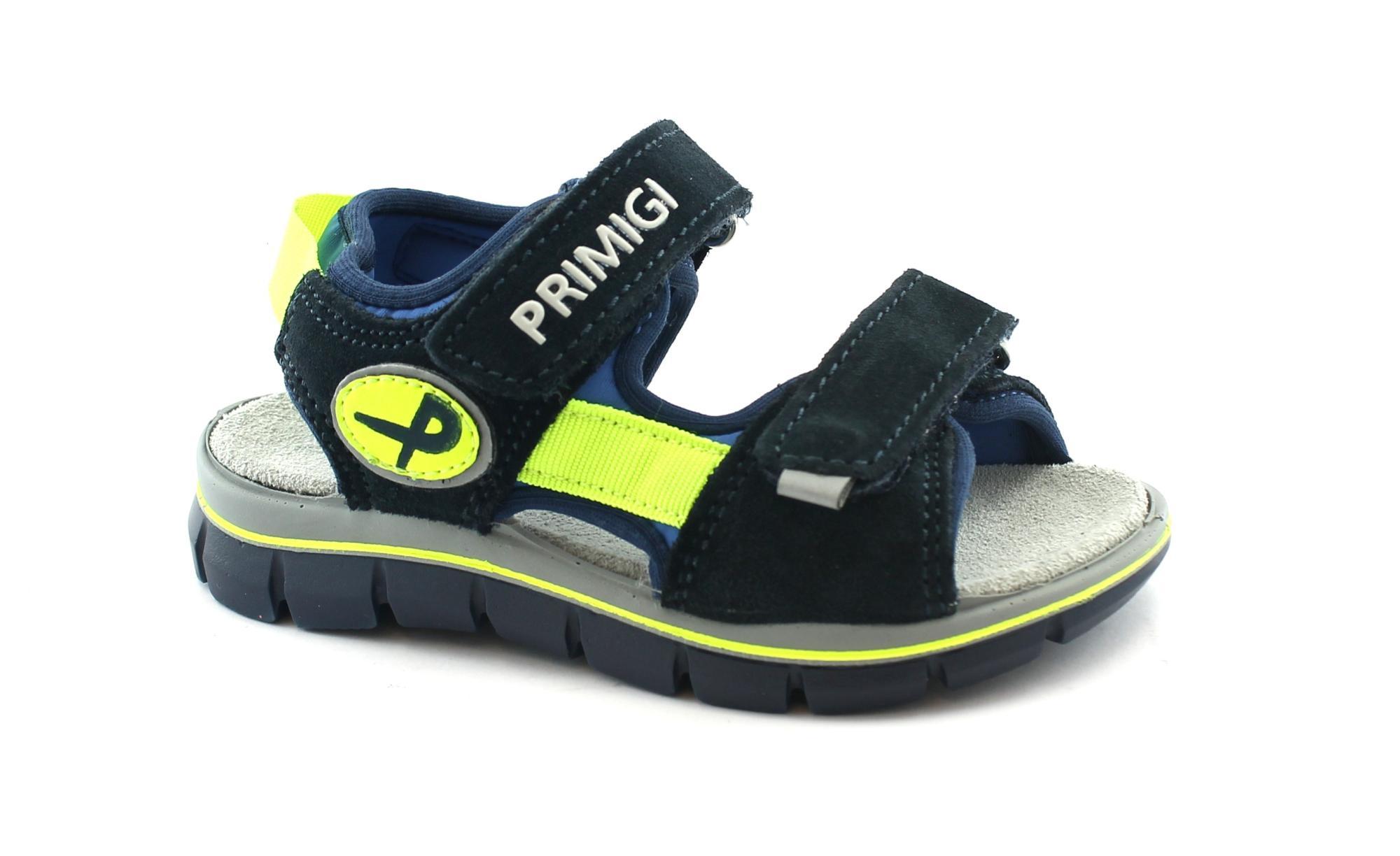 PRIMIGI 98022 26/30 navy blu sandali scarpe bambino strappi pelle tessuto