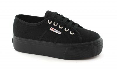 SUPERGA 01L0 total black nero scarpe donna sneakers platform lacci
