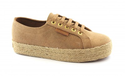 SUPERGA C4YO brown-rose gold scarpe donna sneakers platform lacci
