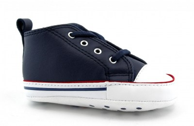 CONVERSE 865862C navy blu scarpe snakers unisex culla all star mid pelle
