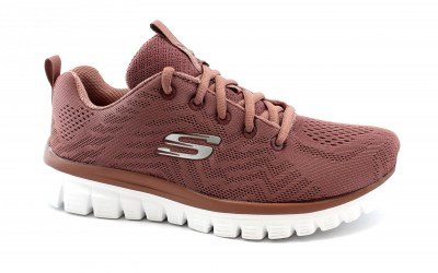 SKECHERS 12615 GET CONNECTED mauve rosa scarpe sneakers donna sport memory foam