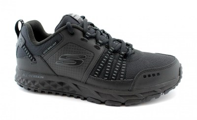 SKECHERS 51591 ESCAPE PLAN black nero scarpe sneakers uomo sportive trail memory foam lacci