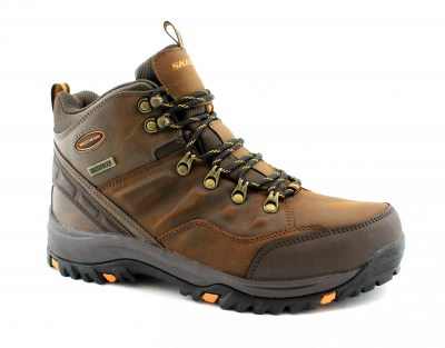 SKECHERS 65529 RELMENT TRAVEN dark brown marrone scarponcini uomo trail trekking memory foam lacci