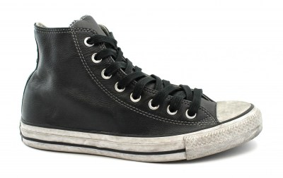 CONVERSE 158575C CTAS LEATHER LTD black white nero scarpe uomo sneakers alte lacci pelle