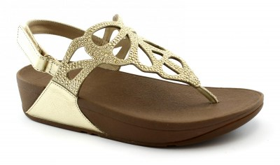 FITFLOP H71-010 BUMBLE CRYSTAL gold oro sandalo infradito donna strappo strass zeppa