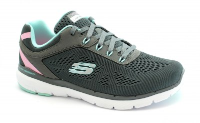 SKECHERS 13474 FLEX APPEAL 3.0 charcoal turquoise scarpe donna memory foam lite weight