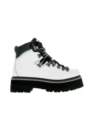 Art Company 0910 CITY WHITE-BLACK/ ART ALPINE Ankle Boots Woman White Laces