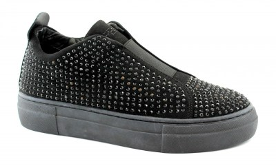 CAFè NOIR DB924 nero scarpe donna sneakers slip on elastico borchie