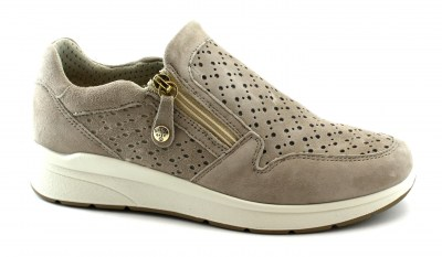 ENVAL SOFT 72955 taupe scarpe sneakers donna tipo slip on + zip