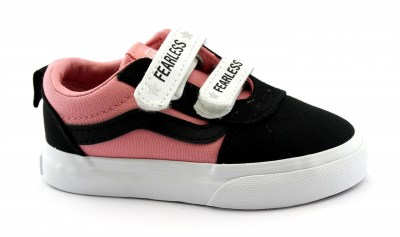 VANS WARD TFWG81 rosa nero scarpe bambina sneakers strappi suede canvas